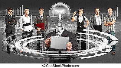 affärsverksamhet lag, med, lampa, huvud