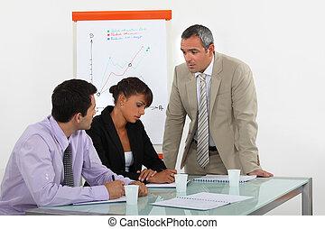 affärsverksamhet lag, på, a, möte