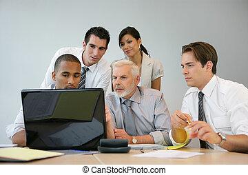 affärsverksamhet lag, sittande, hos, a, dator