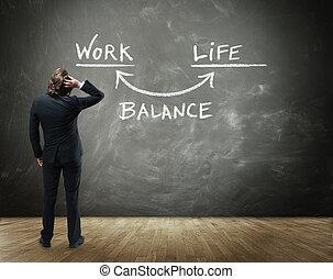 affärsverksamhet människa, betrakta, arbete, liv, balans