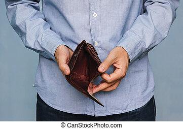 affärsverksamhet människa, -, plånbok, holdingen, tom, bankrutt