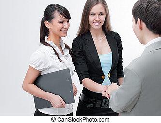 affärsverksamhet partner, skaka hand, för, den, talar