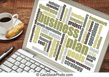 affärsverksamhet planera, ord, moln