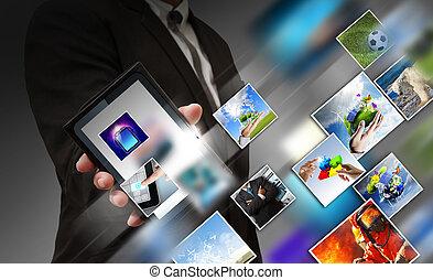 affärsverksamhet telefonera, mobil, avskärma, hand, strömma, avbildar, toucha, visar