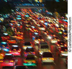 afføringen, lys, trafik, sløre