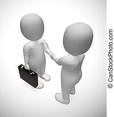 affaire, -, accord, illustration, hommes affaires, mains secouer, ou, 3d