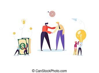 affaire, poignée main, réussi, secousse, concept., association, accord, illustration, vecteur, hommes affaires, caractères, réunion, hands., negotiations.