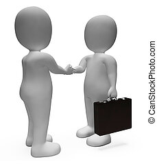 affaire protocole, contrat, rendre, illustration, 3d, spectacles, hommes affaires