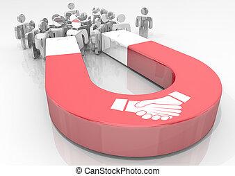 affaire protocole, gens, accord, illustration, aimant, clients, mains, attirer, secousse, 3d