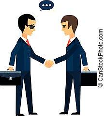 affaire, secousse, hommes affaires, deux mains