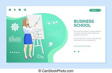 affaires éduquent, donner, présentation, site web, femme