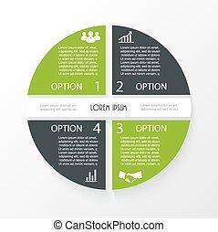 affaires 4, segments., cercle, infographic, conception, ...