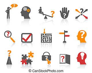 affaires colorent, série, résoudre, icônes, problème