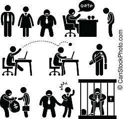 affaires drôles, bureau, patron, icône
