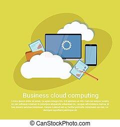 affaires enchaînement, espace, calculer, gabarit, services, copie, bannière, nuage