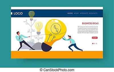affaires enchaînement, lumière, idée, gabarit, ampoule, page