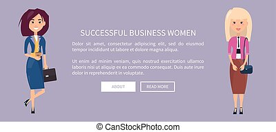 affaires enchaînement, réussi, affiche, ligne, page, femmes