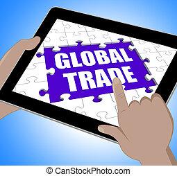 affaires enchaînement, tablette, commerce global, ...