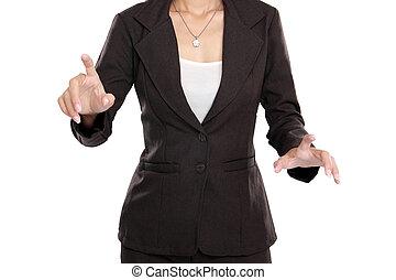 affaires femme, écran, virtuel, vide, poussée