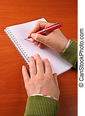 affaires femme, écriture