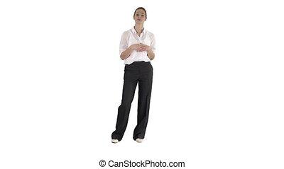 affaires femme, arrière-plan., conversation, appareil photo, blanc