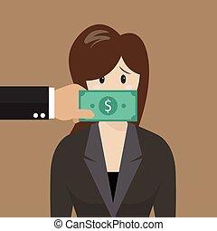 affaires femme, billet banque, dollar, enregistré, bouche