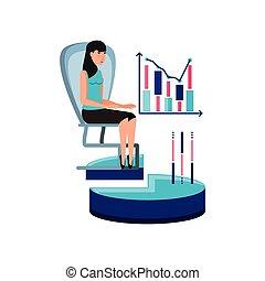 affaires femme, bureau, caractère, avatar, chaise