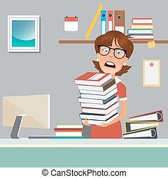 affaires femme, bureau., illustration, vecteur, accentué, documents