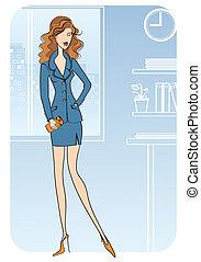 affaires femme, bureau., illustration, vecteur