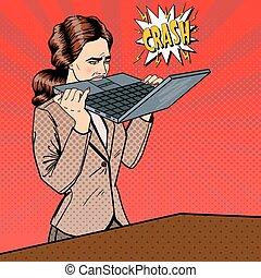 affaires femme, bureau., ordinateur portable, pop, vecteur, ...