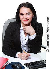 affaires femme, bureau, séance, moderne, bureau