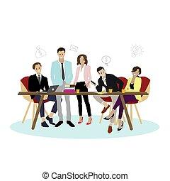affaires femme, bureau, vecteur, équipe, homme, heureux