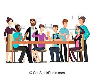 affaires femme, caractère, matin, conversation., avoir, réunion équipe, dessin animé, homme