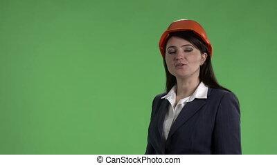 affaires femme, chapeau, écran, dur, contre, vert, confection, présentation