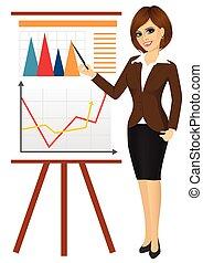 affaires femme, chiquenaude, contre, diagramme, graphiques,...
