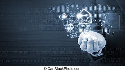 affaires femme, commercialisation, main, e-mail, tenue, icône
