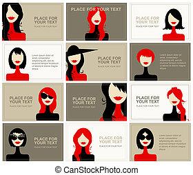 affaires femme, conception, faces, cartes, ton