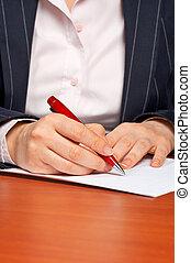 affaires femme, contrat, écriture