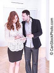 affaires femme, couple, homme, caucasien, conflit, conflit