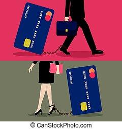 affaires femme, crédit, fardeau, carte, homme
