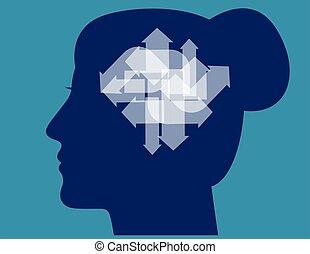 affaires femme, différent, illustration., head., flèches, ...