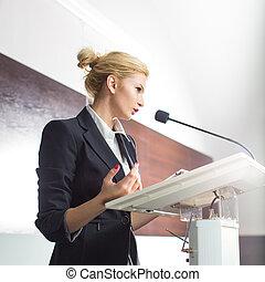 affaires femme, donner, jeune, monture, joli, présentation, ...