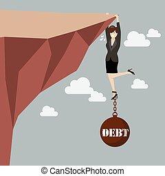 affaires femme, dur, essayer, fardeau, prise, dette, falaise