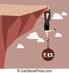 affaires femme, dur, impôt, essayer, fardeau, prise, falaise