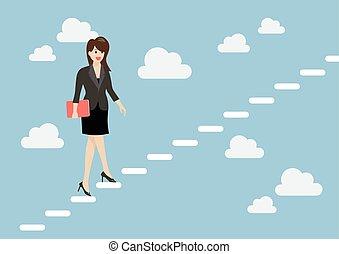 affaires femme, escalier, ciel, haut, marcher