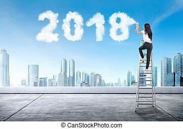 affaires femme, escalier, pulvérisation, forme, 2018, utilisation, nuage blanc