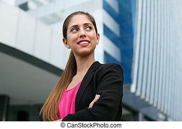 affaires femme, espace, regarder, confiant, portrait, copie