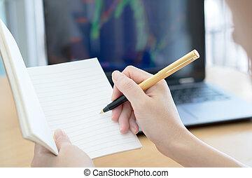affaires femme, fonctionnement, bloc-notes, main, ordinateur stylo, écriture