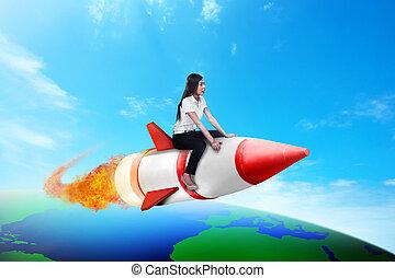 affaires femme, fusée, équitation, la terre, travers