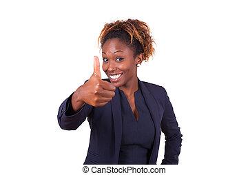 affaires femme, gens, -, haut, américain, noir, pouces, africaine, confection, geste